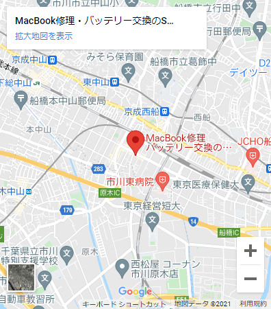 SMART千葉西船橋店マップ